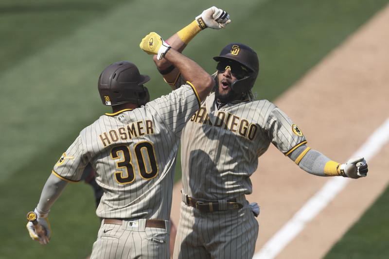 Tatis of San Diego Padres celebrates home run