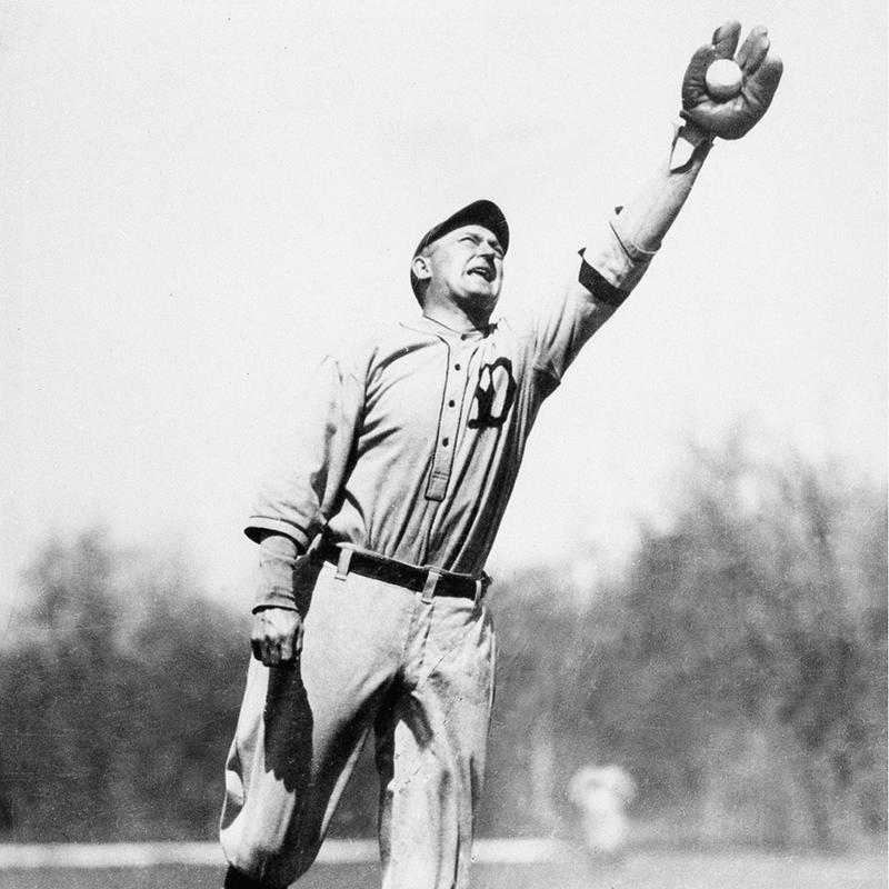Ty Cobb catching a ball