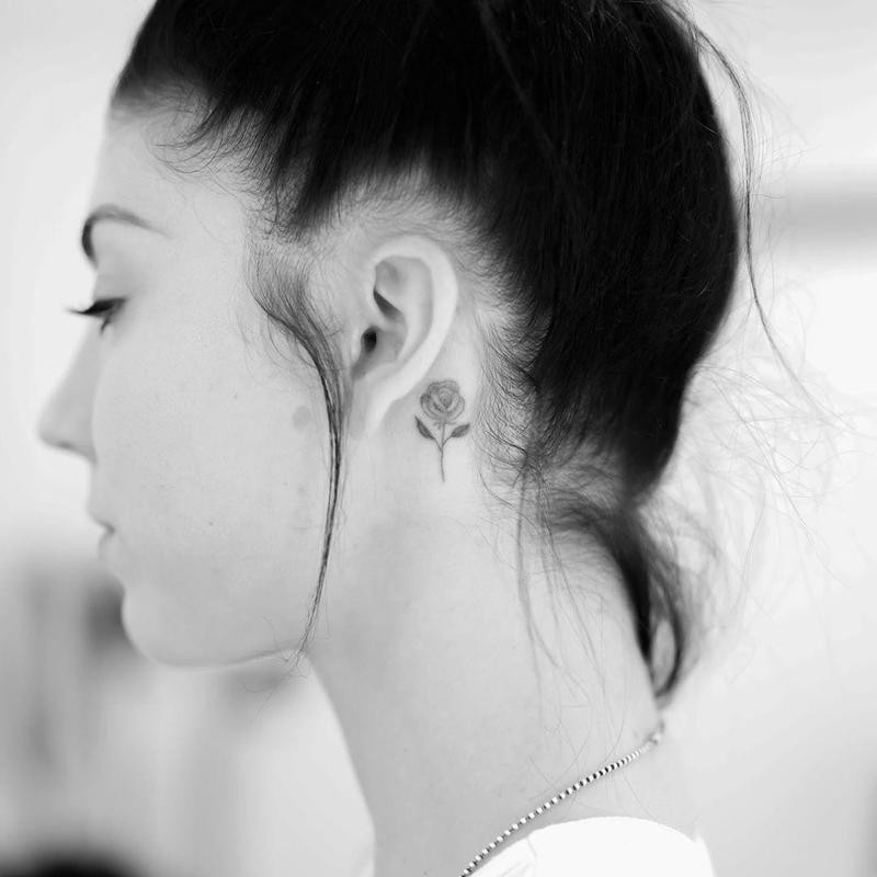 Rose Behind-the-Ear Tattoo