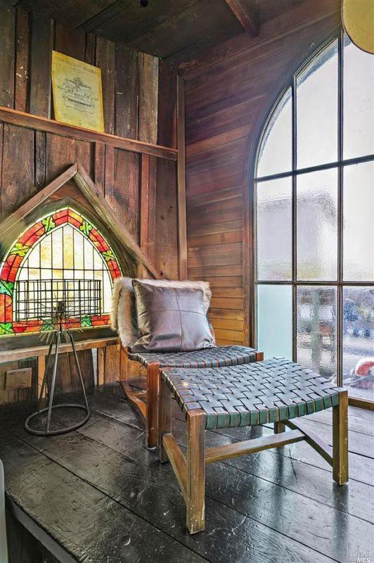 Houseboat with stained glass windows