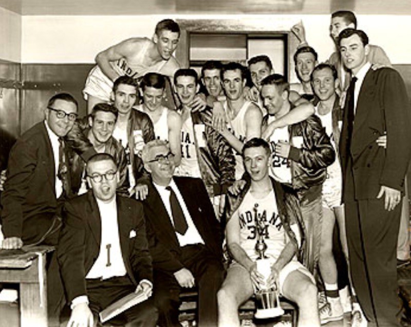 Indiana Hoosiers celebrate and pose with trophy