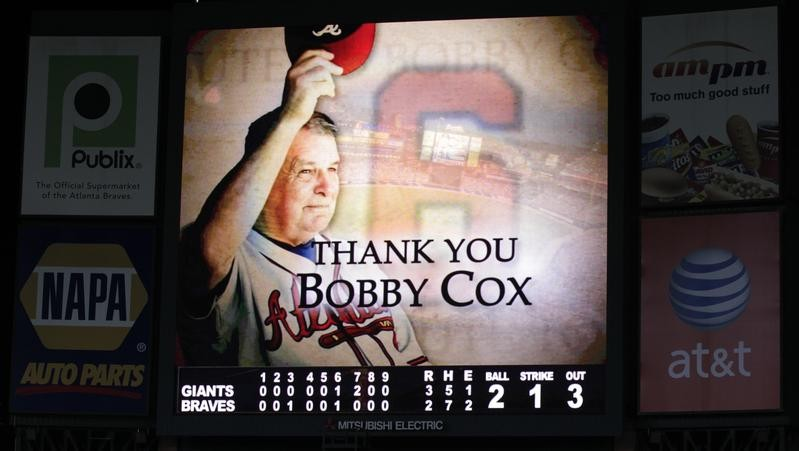 Bobby Cox is thanked at Turner Field after retiring