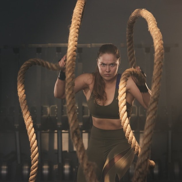 Ronda Rousey training with ropes