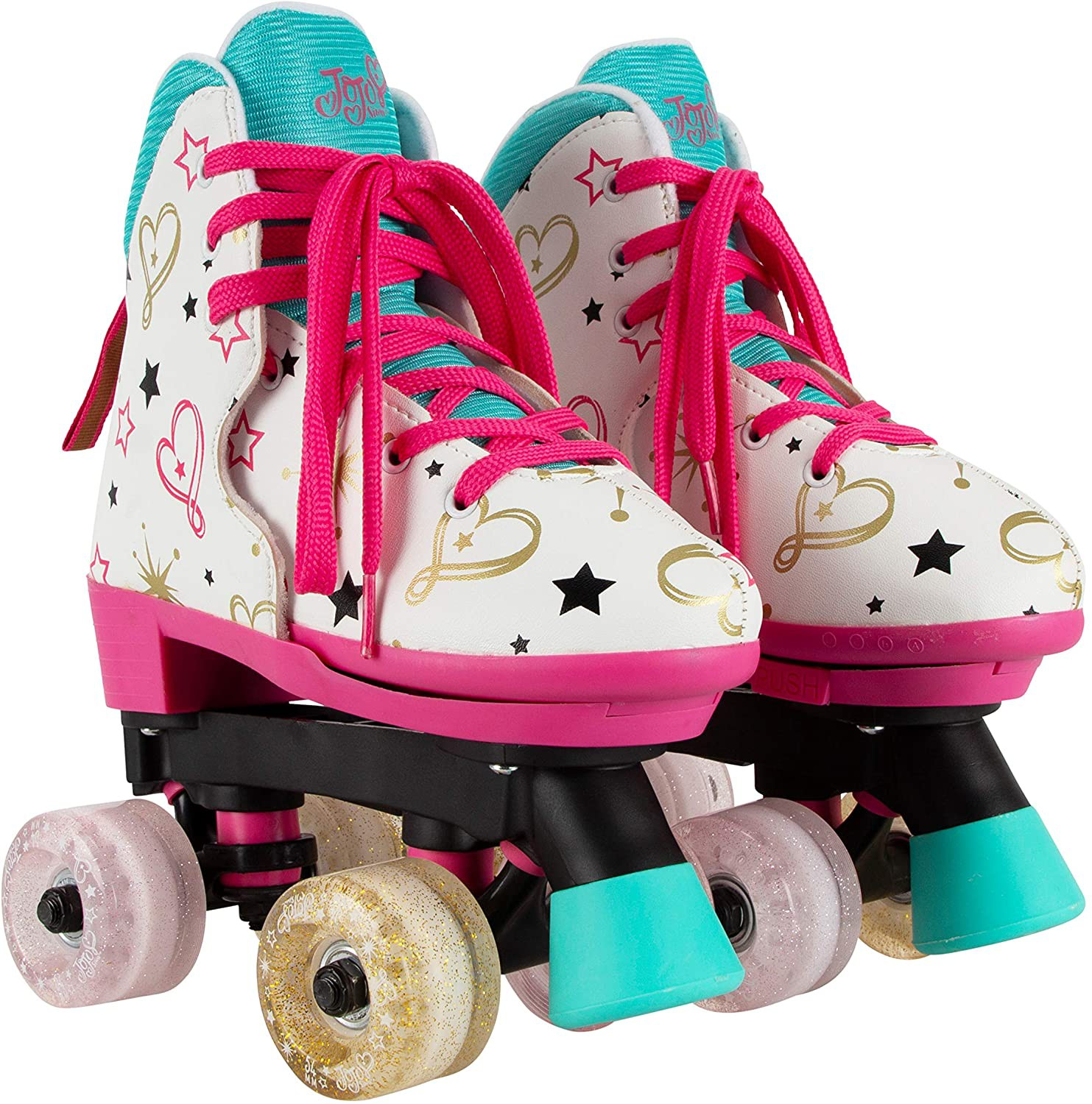 Circle Society Classic Adjustable Indoor and Outdoor Childrens Roller Skates - JoJo Siwa Party in Pink