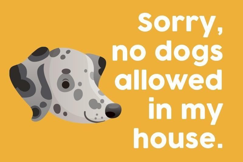 Sorry, no dogs allowed in my house.