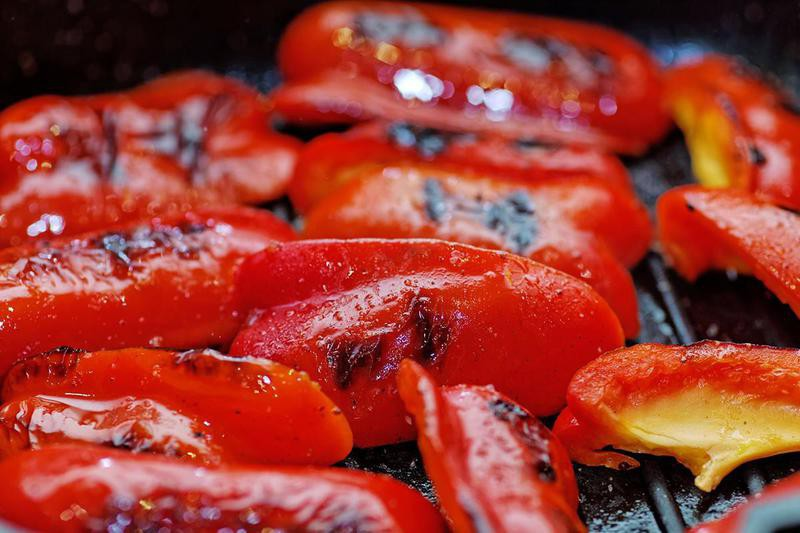 Roasted Red Pepper on top of burgers