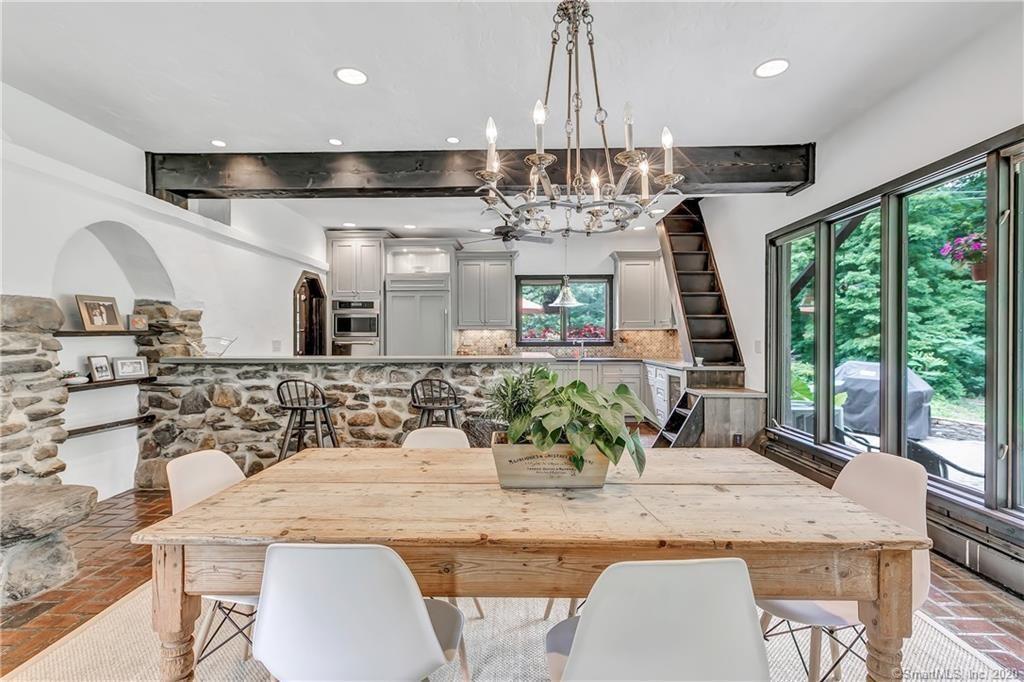Rustic farmhouse kitchen, open floor plan