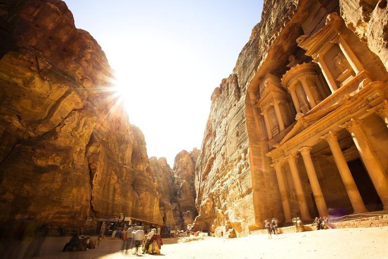 Rock-cut temple in Petra, Jordan