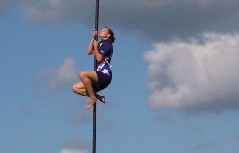 Woman far leaping
