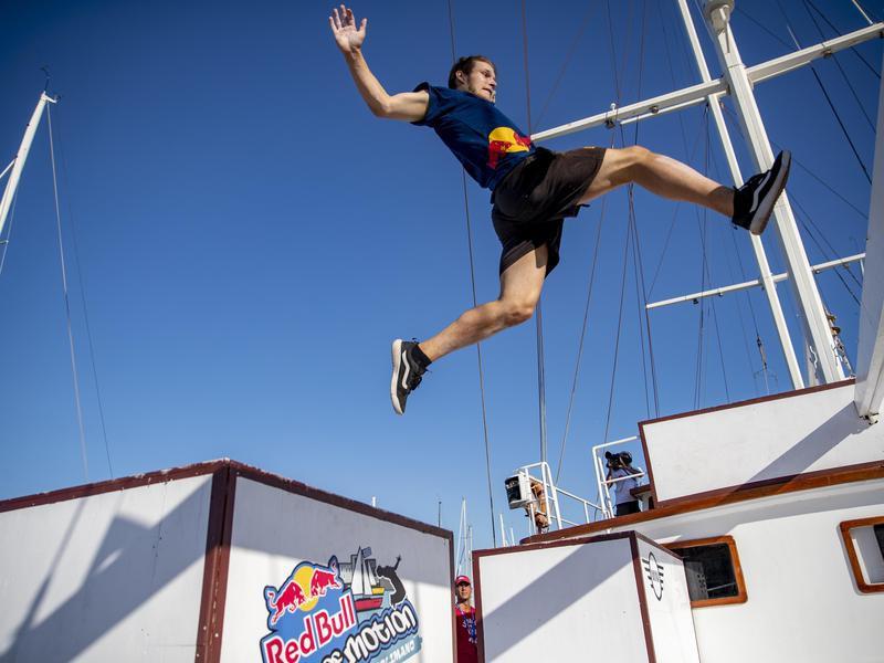 Krystian Kowalewksi performs jump