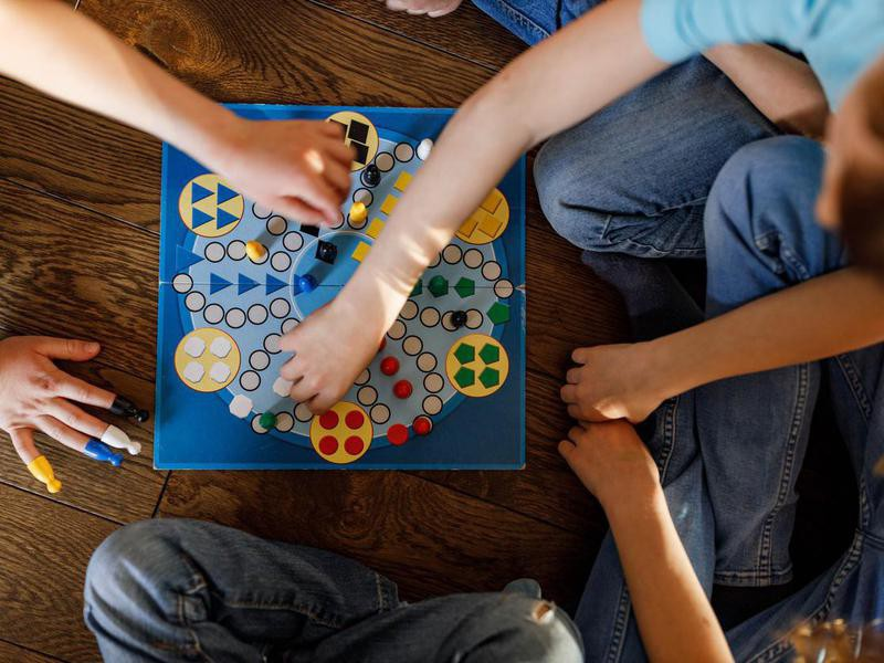Above view of kids playing game