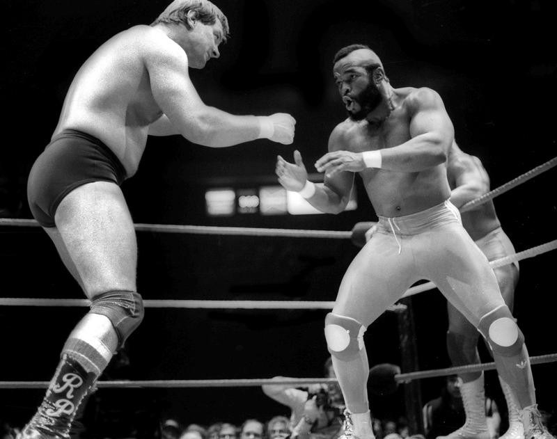 Roddy Piper and Mr. T at WrestleMania I