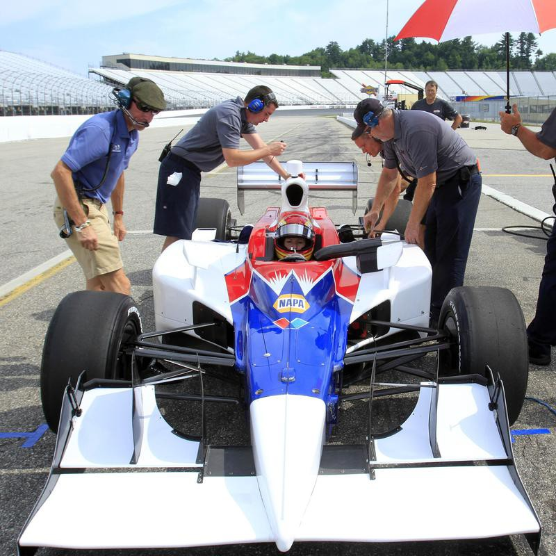 Pippa Mann's Indy car gets checked out