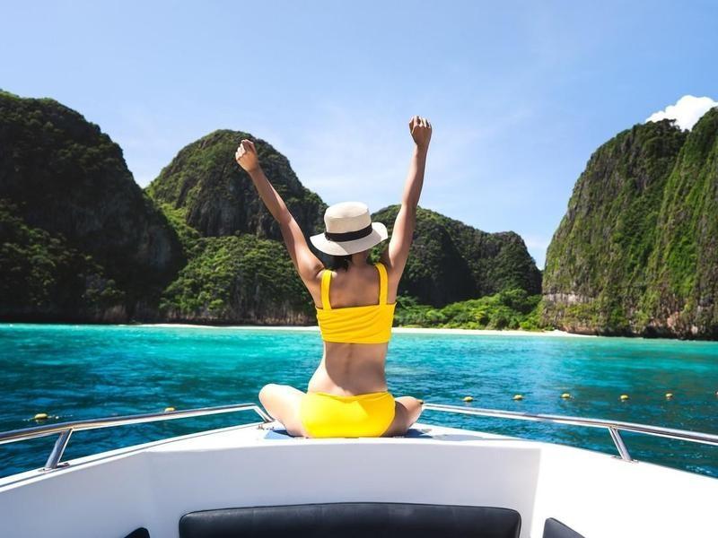 Girl in boat in Krabi, Thailand