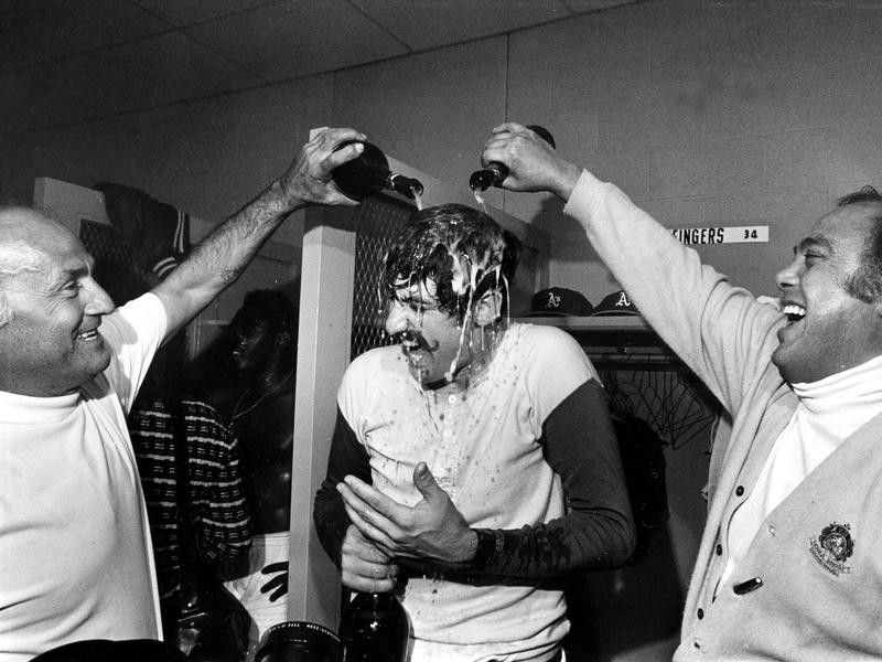 Rollie Fingers gets drenched in champagne
