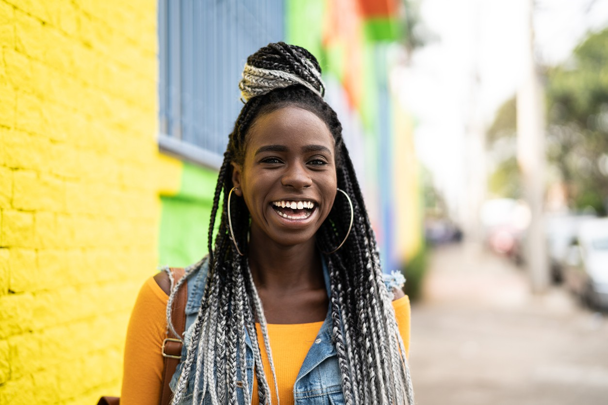 Woman in Jamaica smiling