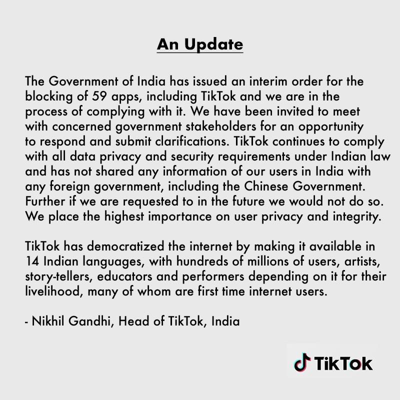 TikTok banned in India