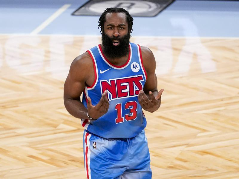 James Harden of Brooklyn Nets reacts