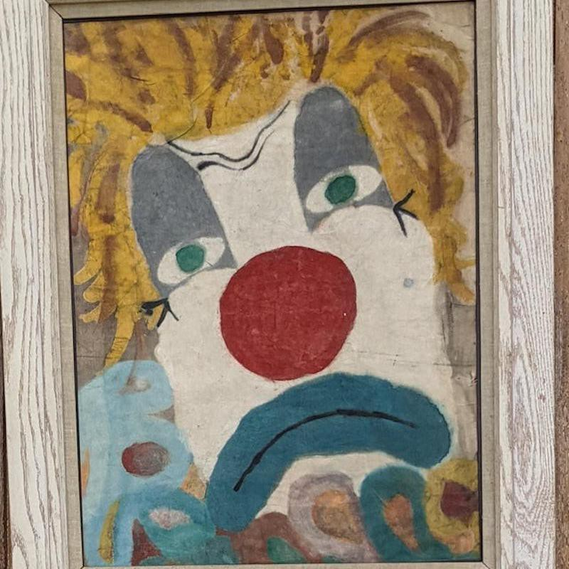 Sad clown painting