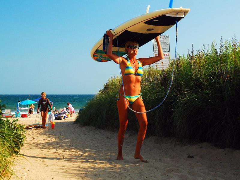 Surfers at Ditch Plains Beach, Montauk, Long Island