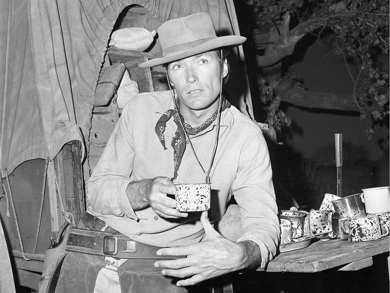 """Clint Eastwood, seen here on the """"Rawhide"""" set, still had a hard time landing roles, even after the success of the Spaghetti Westerns."""