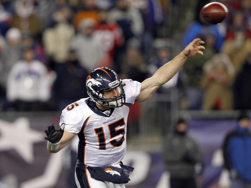 Tim Tebow of the Denver Broncos throws the football in the playoffs