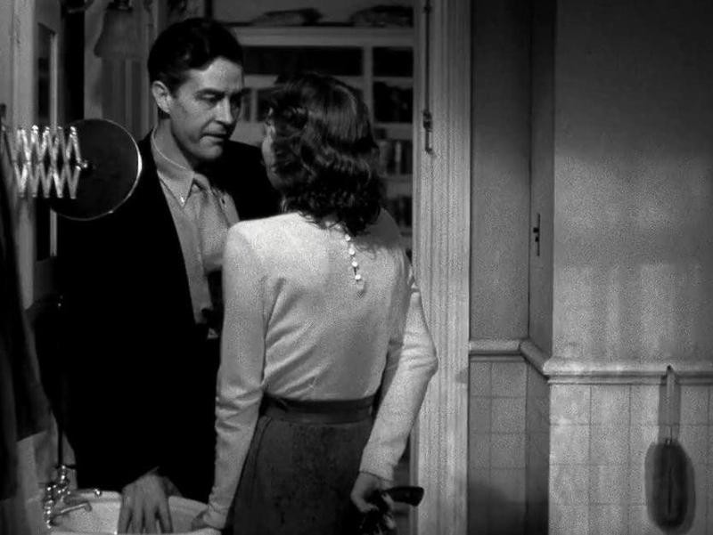 Jane Wyman speaking to Ray Milland in The Lost Weekend