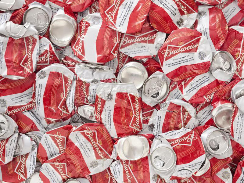 Crushed Budweiser beer cans