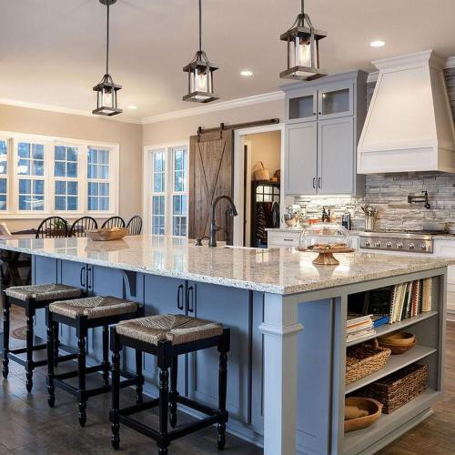 Kitchen with rustic pendant lights