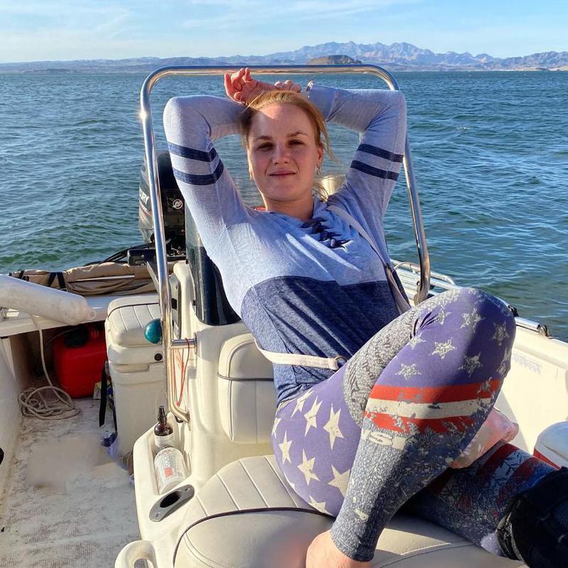 Valentina Schevchenko on a boat