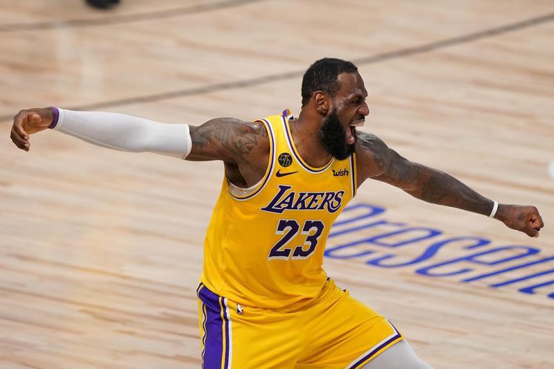 Los Angeles Lakers' LeBron James celebrates