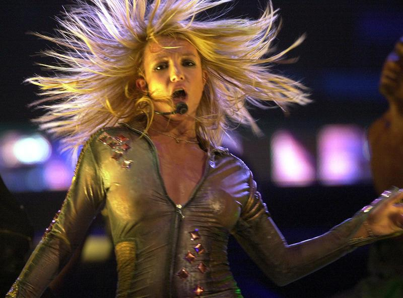 Britney Spears performs in Buffalo, New York, in 2002.