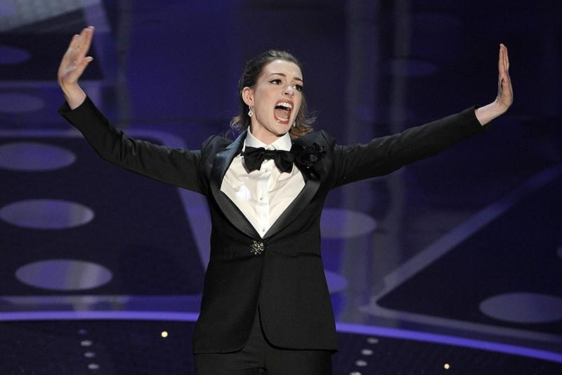 Anne Hathaway performing