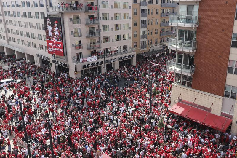 Fans gather outside Great American Ball Park before Opening Day