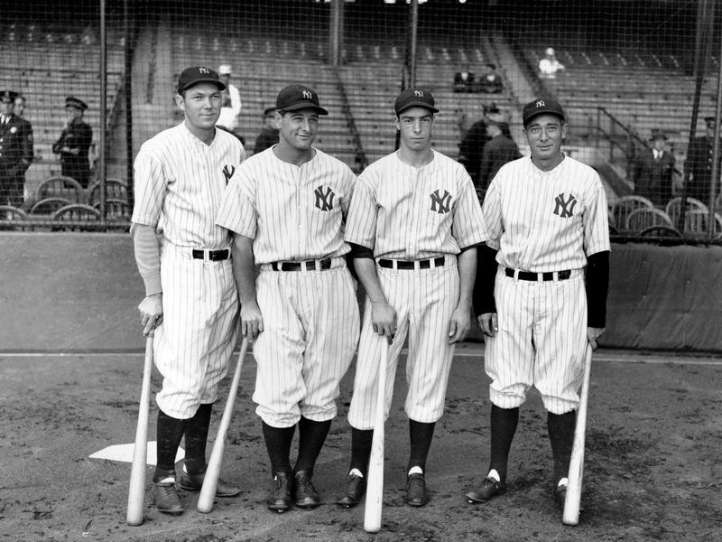 Bill Dickey, Lou Gehrig, Joe DiMaggio, and Tony Lazzeri