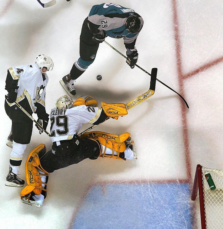 Marc-Andre Fleury blocks a shot against the San Jose Sharks