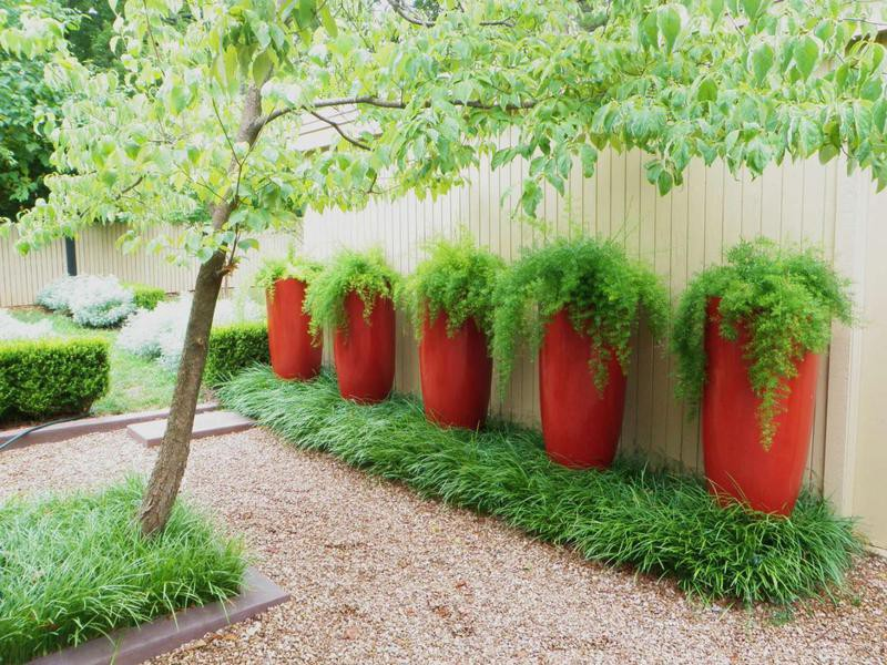Gravel landscaping with planters