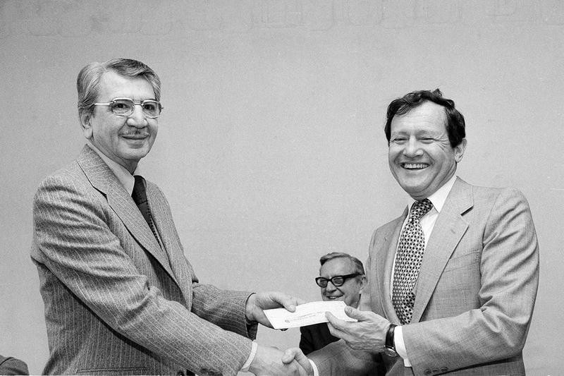 Jay A. Pritzker (right) and Jose Luis Enciso