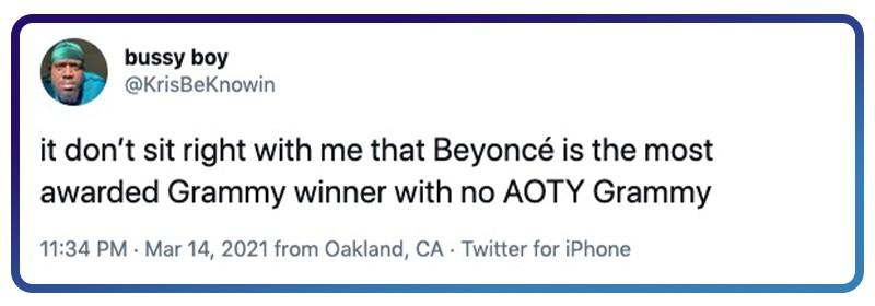 Beyoncé needs Album of the Year Grammy