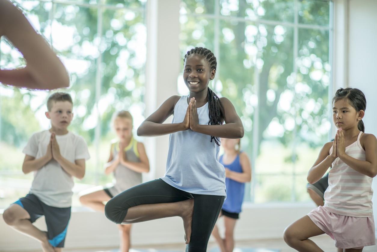 Kids yoga tree pose
