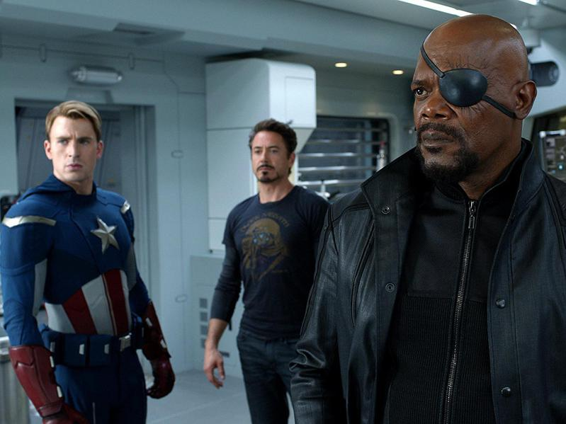 Samuel L. Jackson, Robert Downey Jr., and Chris Evans in The Avengers (2012)