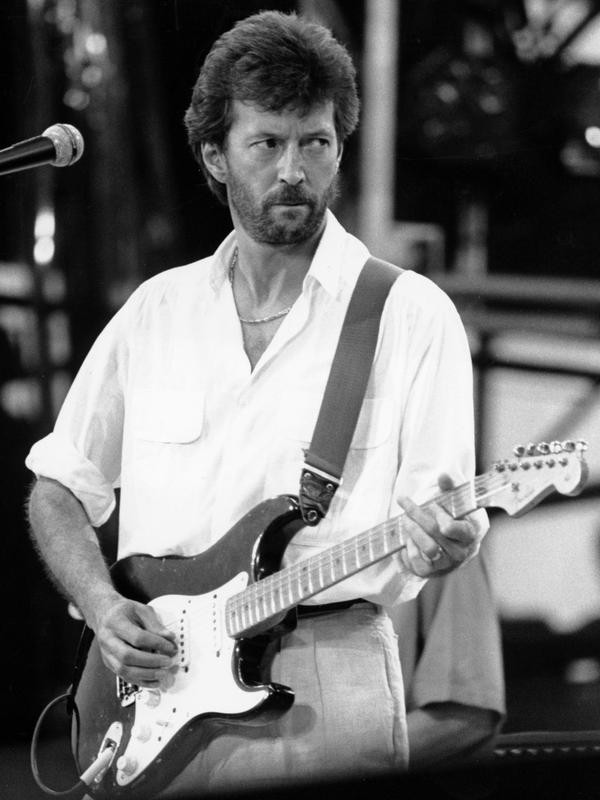 Eric Clapton at Live Aid concert in Philadelphia in 1985