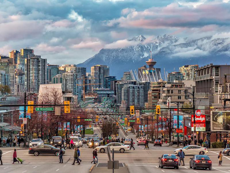 Vancouver City under the mountain