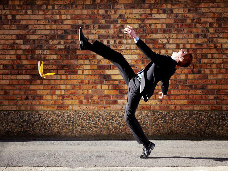 Man slipping on a banana peel