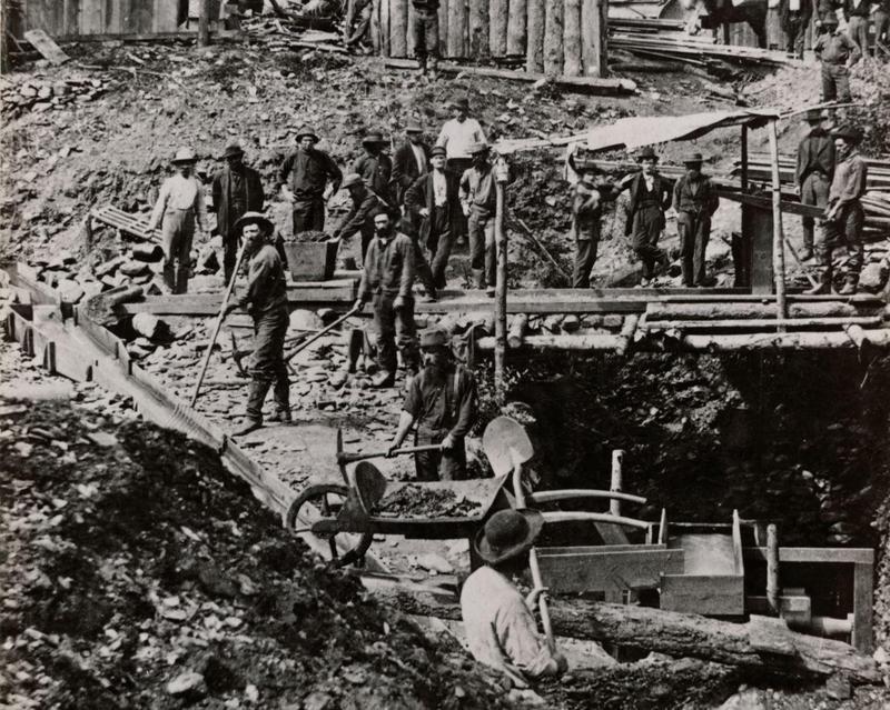 California Gold Rush mining camp