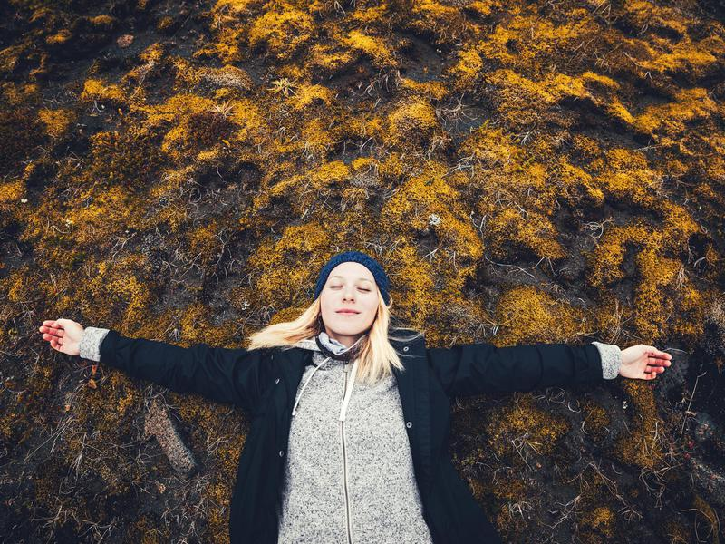 Happy woman in Iceland