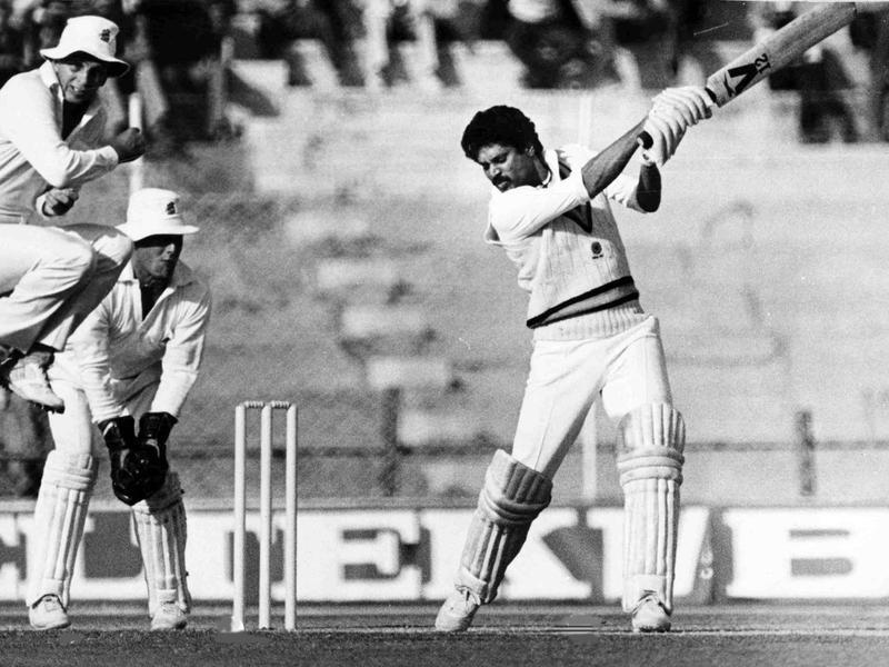 Kapil Dev hits the ball