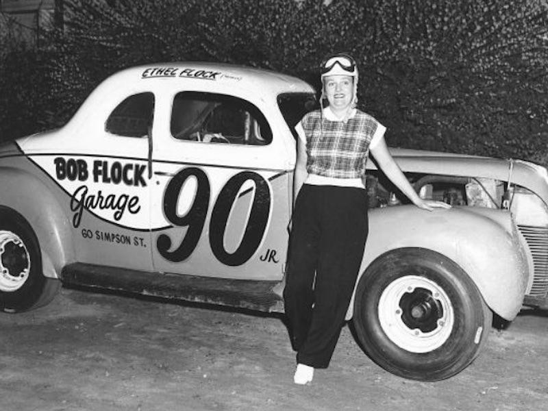 Ethel Mobley leaning on car