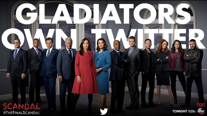 """By the time the final episode of """"Scandal"""" aired, the show had well over a million followers on its official Twitter channel, and countless more on fans' accounts."""