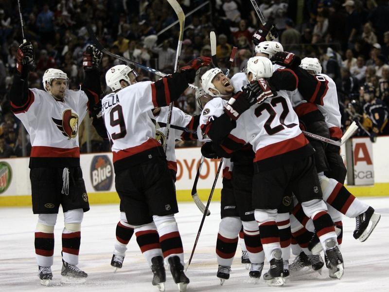 Ottawa Senators celebrate a goal